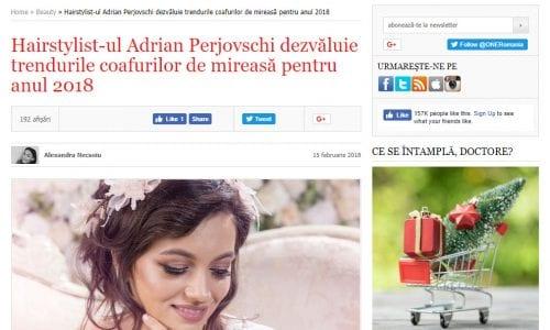 Hairstylist-ul Adrian Perjovschi dezvăluie trendurile coafurilor de mireasă pentru anul 2018