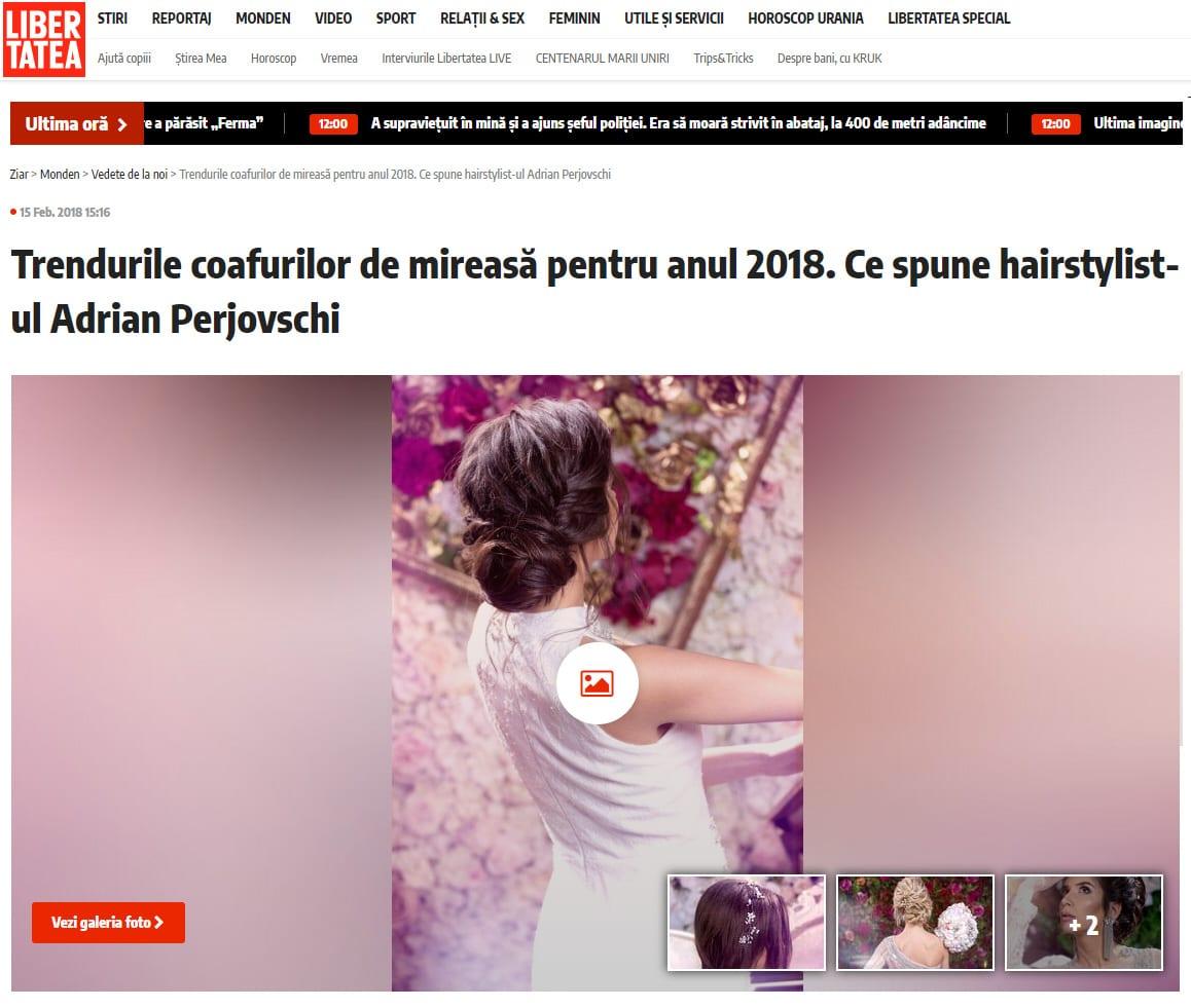 Trendurile coafurilor de mireasă pentru anul 2018. Ce spune hairstylist-ul Adrian Perjovschi Citeşte întreaga ştire: Trendurile coafurilor de mireasă pentru anul 2018. Ce spune hairstylist-ul Adrian Perjovschi