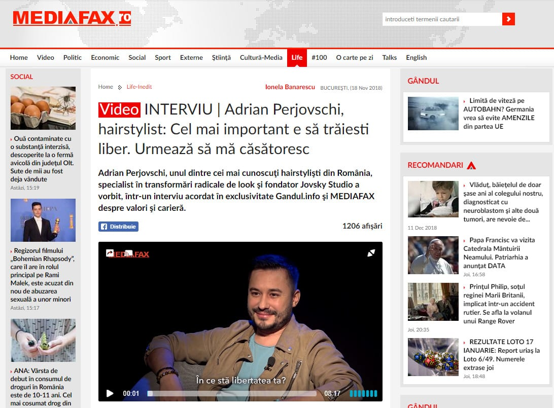 Video INTERVIU | Adrian Perjovschi, hairstylist: Cel mai important e să trăiesti liber. Urmează să mă căsătoresc