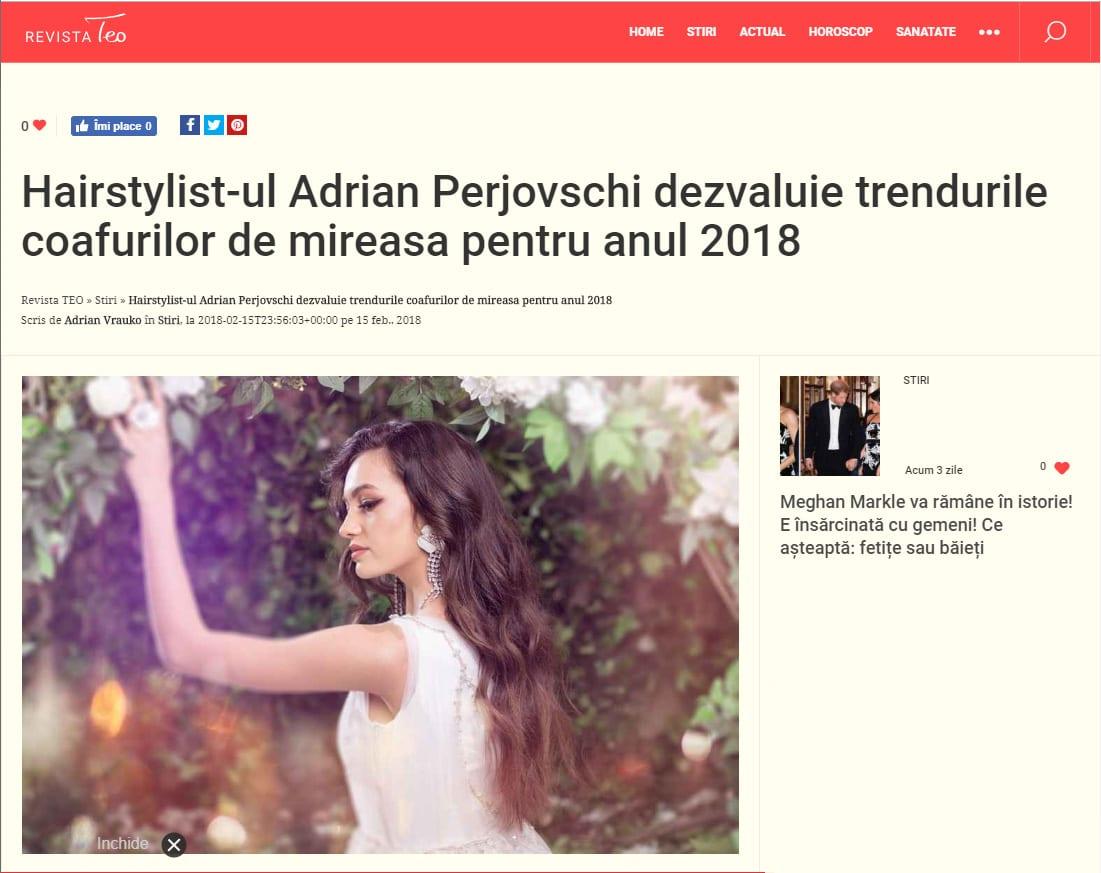 Hairstylist-ul Adrian Perjovschi dezvaluie trendurile coafurilor de mireasa pentru anul 2018